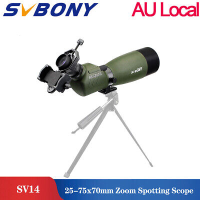 SVBONY SV14 45 Degree 25-75x70mmFMC Angled Zoom Spotting Scope+Adapter AU SHIP