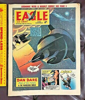Vintage Oct 1963 Eagle British Comic Dan Dare Heros Spartan Corgi Spot-On Toys!!