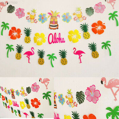 Tropical Hawaii Pineapple Flamingo Garland Bunting Banner Garden Decoration Prop