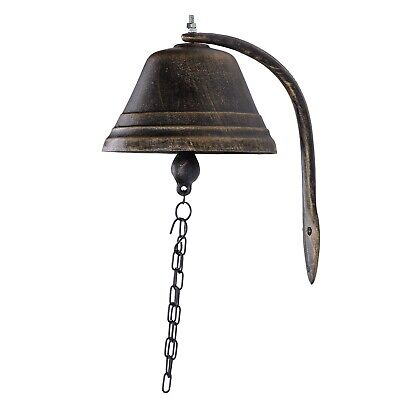 Cast Iron Ranch House Gate Bell Handcrafted Black and Bronze Farmhouse Decor
