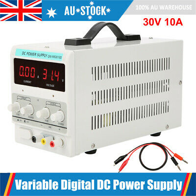 30V 10A DC Power Supply Precision Variable Digital Lab Adjustable with Cable