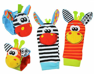 Cute Animal Infant Baby Kids Hand Wrist Bell Foot Sock Rattles Soft Toy 4pcs/set