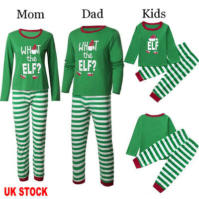 UK Family Matching Adult Women Christmas Elf Pyjamas Nightwear Pajamas PJs Sets