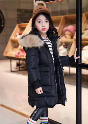 Quilted Coat Jacket Kids Girls Winter Padded School Puffer Fur Hooded Long Parka