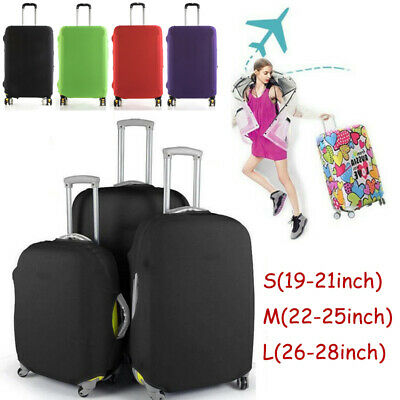 """Pure Color Dust-Proof Travel Luggage Elastic Suitcase Bag Cover Protector 18-28"""""""