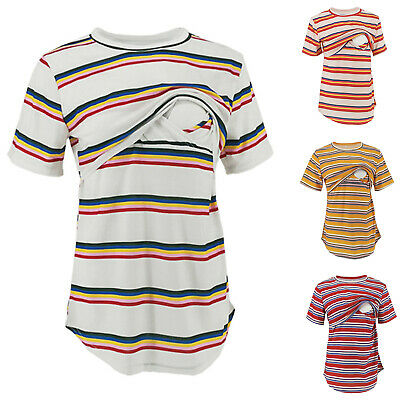 Women Pregnant Maternity Clothes Nursing Top Breastfeeding Stripe T-Shirt Blouse