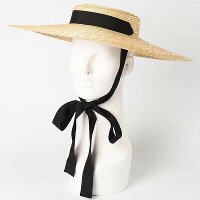 Women Ladies Large Beach Cap Wide Brim Wheat Straw Flat Sun Hat with Ribbon Tie