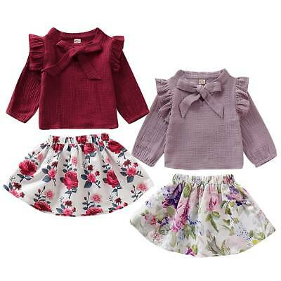 Cute Toddler Infant Baby Girl Floral Dress Outfits Autumn Tops Skirt Clothes Set
