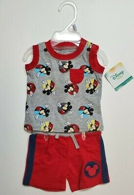 Disney Baby Infant Boy 2 Pc Mickey Mouse Tank Shorts Set Outfit Red Newborn NWT