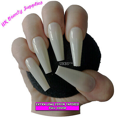 600x Extra Long COFFIN T Shape False Nails NATURAL Glue On Full Cover Tips - UK