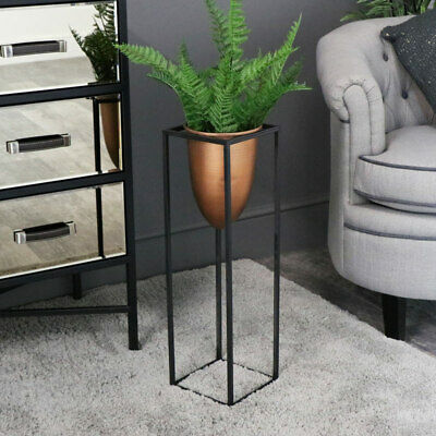 Tall copper flower planter plant pot black metal frame stand rustic retro gift
