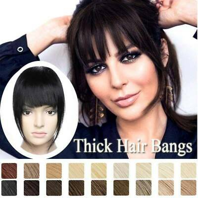 Real Thick Bangs Clip in on Front Fringe 100% Remy Human Hair Extensions Topper