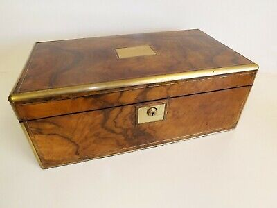 Writing Slope Large Antique Military Victorian Walnut And Brass. 1860's