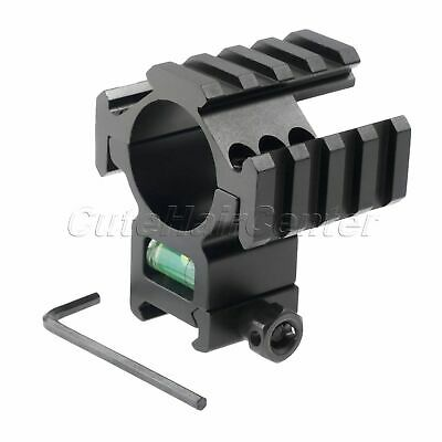 Heavy Duty Tri 20mm Picatinny Rail 30mm Ring Scope Mount Bubble Level for Rifle