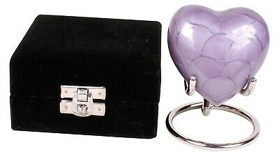Small cremation urn for ashes funeral memorial blue heart keepsake box stand
