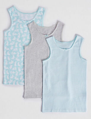New Girls 3 Pack Vests Cotton Aqua Mix Ex M & S Age 7-8 Years RRP £8