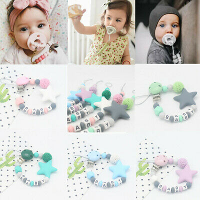 Baby Dummy Clips Teeth Chain Holder Pacifier Teething Strap Kit Silicone Beads L