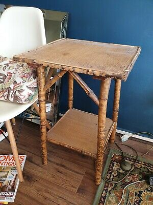 Vintage Bamboo/Rattan 2 Tiered Side Table Antique Victorian Japanese Tiki Boho