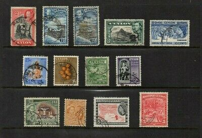 GB Commonwealth  Stamps from Ceylon Cyprus and British Guiana