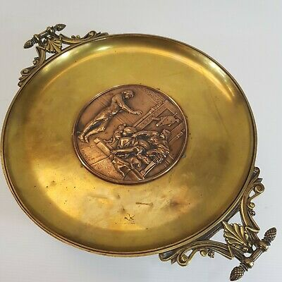 Antique 19th Century French Bronze Tazza Inset Figural Plaque Signed E. Picault