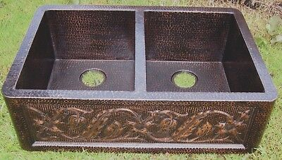 """Copper Hammered Double Bowl 50/50 Farmhouse Kitchen Sink 33""""x22"""" Handmade"""