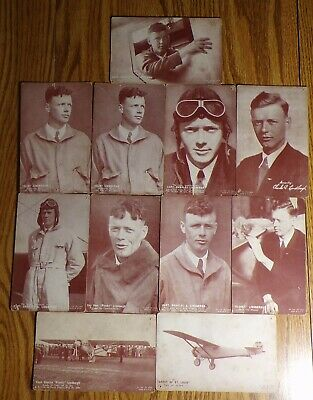 11 Vintage CHARLES LINDBERGH Arcade Cards Great Start to a Collection!!!