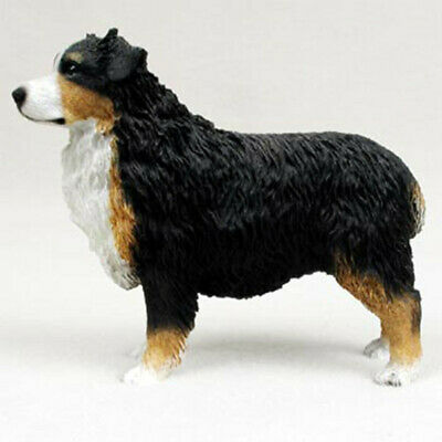 Australian Shepherd Figurine Hand Painted Collectible Statue Tri Color Docked