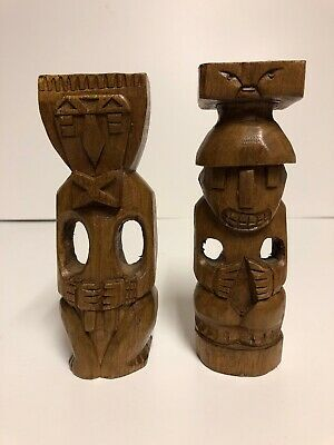 Two Hand Crafted Wooden Figures from Ecuador Tiki God Figures