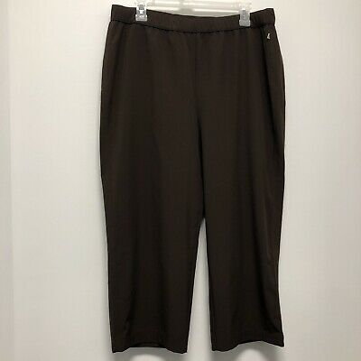 Zenergy Chicos Womens Crop Capri Golf Pants 2 Large 12 Brown Stretch Pockets