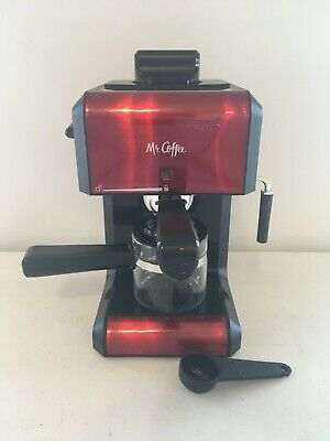 Mr. Coffee Cafe 20 OZ Automatic Steam Espresso & Cappuccino Maker Machine, Red