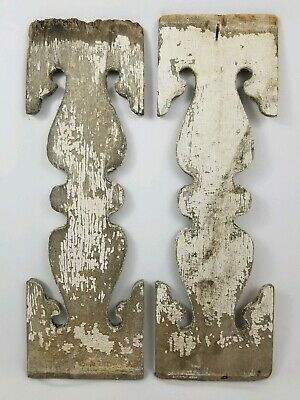 2  Antique Architectural Salvage Wood Porch Corbels Furniture Parts Gingerbread