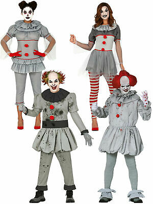 Mens Ladies Killer Pennywise Clown Costume Scary Circus Halloween Fancy Dress IT
