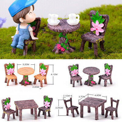 Fairy Garden Landscape Miniature Table and Chairs  Dollhouse Accessories