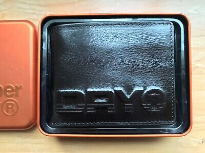 Mens Superdry Profile Embossed Black Leather Money Wallet In Gift Tin Brand New