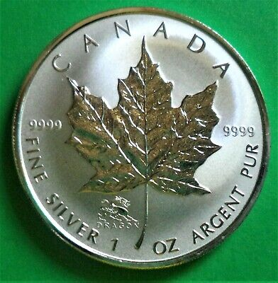 Bu 2000 Canada Silver Maple Leaf With Dragon Privy 1 Oz. .9999 Fine Silver Round