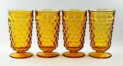 Vtg Indiana Glass/Colony Whitehall Cubist  Amber 16oz Tumblers (FOUR) EXC COND