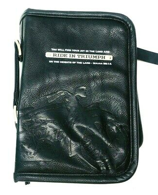 Ride in Triumph Isaiah 58:14 Black 6 x 9 Faux Leather MEDIUM Bible Cover #23815