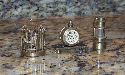 Vintage Dollhouse Decor Mini Brass Accessories Lantern, Mantel Clock, Birdcage