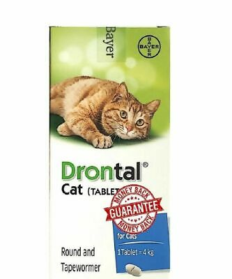 Drontal for Cats Kitten 8 Tablets Tapeworm Dewormer Roundworm NEW