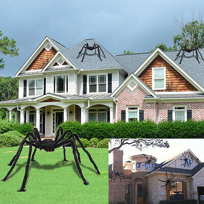 200cm/150cm Black Giant Hairy Plush Spider Halloween Decor Haunted House Prop