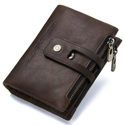 Men Rustic Leather Wallet Credit Card Holder Clutch Bifold Pocket Zip Coin Purse