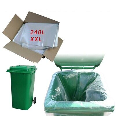 100 Clear Std Wheelie Bin Liners Strong Refuse Sacks Thick Big Rubbish Bags Xxl