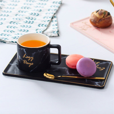 NEW Marble Cup Saucer Spoon Afternoon Coffee Tea Snack Set Mug White Black Pink