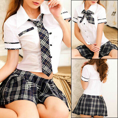 Naughty Women School Girl Uniform Student Lingerie Dress Party Costume New