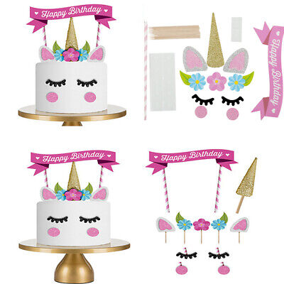 Unicorn Happy Birthday Cake Topper Banner Decorating Party Cupcake Flags Use