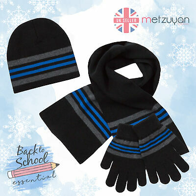 Boys Hat Gloves Scarf Set Warm Winter Back To School Knitted Navy Striped 2-6 Y