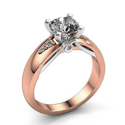Elegant Rose Gold Plated Rings for Women Jewelry White Sapphire Size 6-10