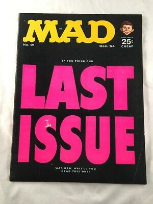 Mad Magazine # 91 December 1964 Last Issue Alfred E Neuman Front Cover
