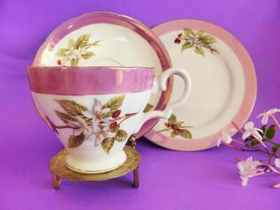 Vintage Superior Japan Cherry Blossom Luster Trio, Tea Cup, Saucer  & Cake Plate