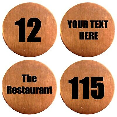 NEW Round Solid Pure Copper Printed Metal Wedding / Event / Party Table Numbers